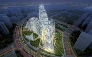 A rendering of the Wangjing SOHO by Zaha Hadid Architects